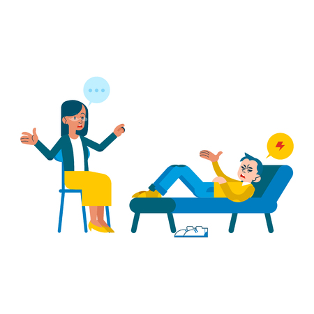 Vector psychotherapy session concept with adult woman mental therapist, psychiatrist asking questions, conversating to tired male character with health problem, headache lying at sofa. Illustration