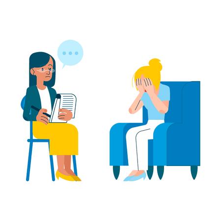 Concepto de sesión de psicoterapia de vector con terapeuta mental de mujer adulta, psiquiatra haciendo preguntas, escuchando al personaje femenino cansado con problema de salud, llorando sentado en el sillón Ilustración de vector