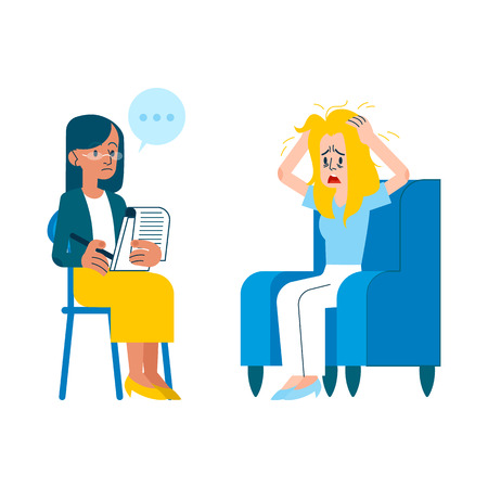 Vector psychotherapy session concept with adult woman mental therapist, psychiatrist asking questions, listening to tired female character with health problem, ruffling hair sitting at armchair Illustration