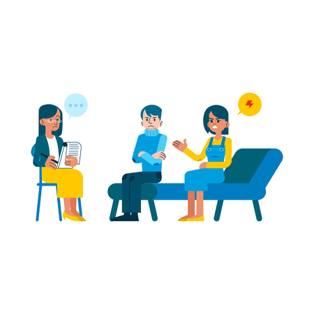 Vector family psychotherapy session concept with adult woman mental therapist, psychiatrist asking questions, listening to angry couple man, woman sitting at couch