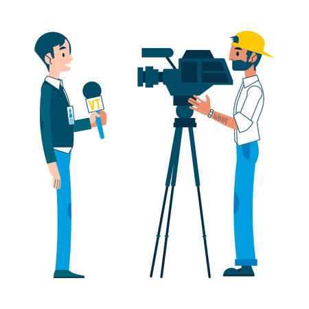 Vector yong man video reporter with beard in cap, man correspondent reporting live on tv camera for interview for breaking news broadcast. Male journalist, television correspondent