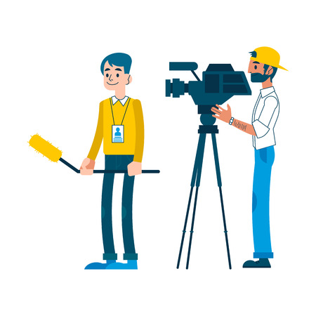 Vector yong man video reporter with beard in cap working setting camera, man with microphone taking tv interview for breaking news broadcast. Male journalist, television correspondent character Çizim