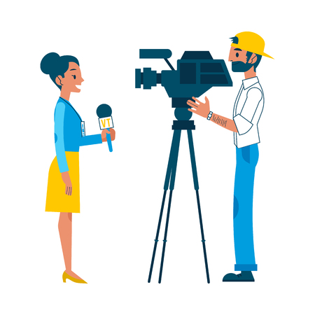 Vector yong man video reporter with beard in cap, woman correspondent reporting live on tv camera for interview for breaking news broadcast. Male, female journalist, television correspondent