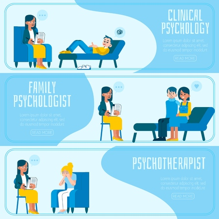 Vector illustration set of psychotherapy and psychology horizontal banners with various scenes of doctors appointment - people talking about their psychological problems and receiving consultation. Illustration