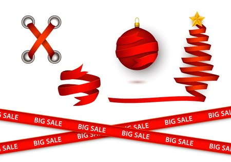 Shoelaces For Christmas.Vector Flat Red Ribbon Elements For Christmas Sales Set