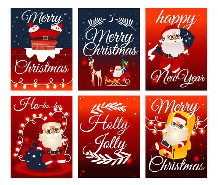 Vector cheerful santa claus merry christmas and happy new year lettering inscriptions holiday posters set. Traditional character walking with presents bag, stuck in chimney, riding reindeers sledge