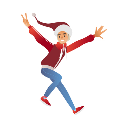 Vector cartoon cheerful young man in santa hat and warm winter or autumn clothing - jacket or sweater having fun laughing jumping outdoors. Male character with positive emotions