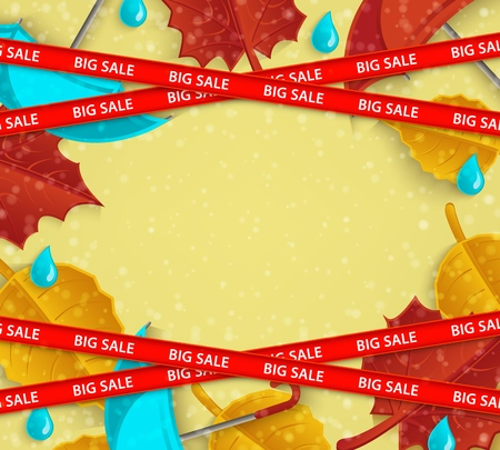 Vector restriction stripes with big sale inscription on background of orange leaves with umbrella and rainy drops abstract pattern. Autumn advertising design with floral elements for discount posters Ilustração