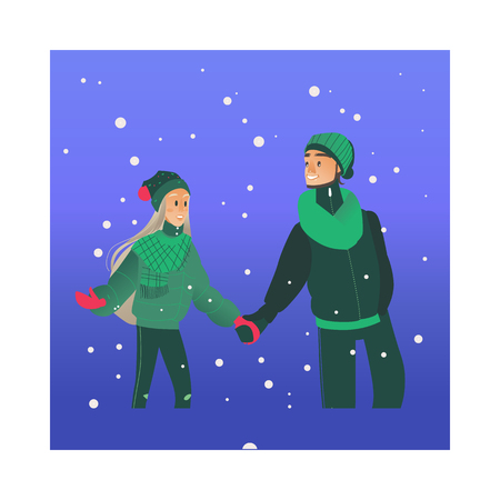 Vector illustration of young loving couple walking under snowfall in winter evening in cartoon style - romantic scene of happy smiling man and woman in warm clothes having date outdoors.