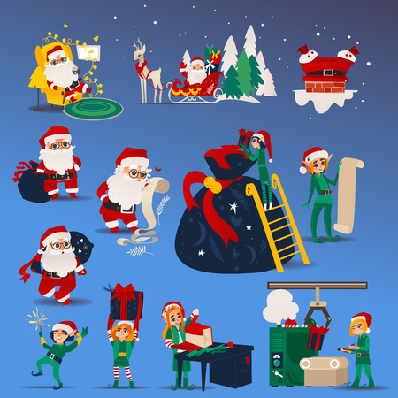 Vector illustration set of Christmas and New Year scenes with Santa Claus and elf preparing for winter holiday in cartoon style isolated on blue background. Traditional symbols for xmas design.