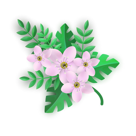 Floral composition vector illustration - branch of tender pink flowers and green leaves in flat style isolated on white background for romantic design with elegant blossoms.