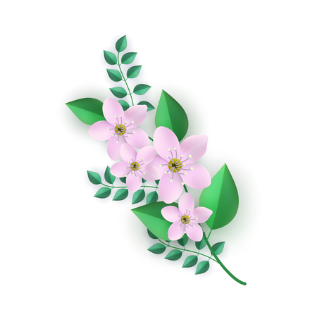 Vector illustration of floral composition with branch of pink flowers and green leaves isolated on white background. Beautiful element for romantic tender design in flat style.