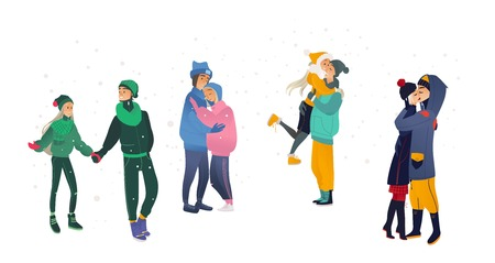 Vector illustration set of loving couples in winter season - young cartoon male and female characters in warm clothes walking, hugging and kissing under snowfall isolated on white background.