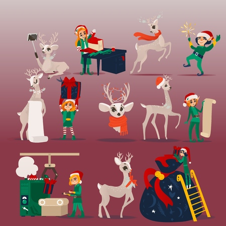 Vector illustration set of Christmas and New Year scenes with Santa Claus helpers - elf and reindeer preparing for winter holiday in cartoon style isolated on red background for xmas design.