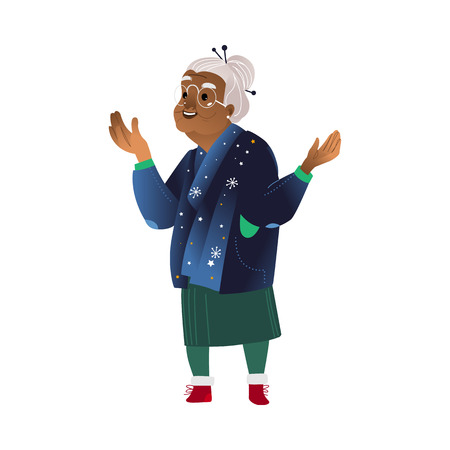 Vector excited african grandmother in warm sweater with stars spreading hands in anticipation of good event or present. Grey-haired elderly woman, senior female character illustration