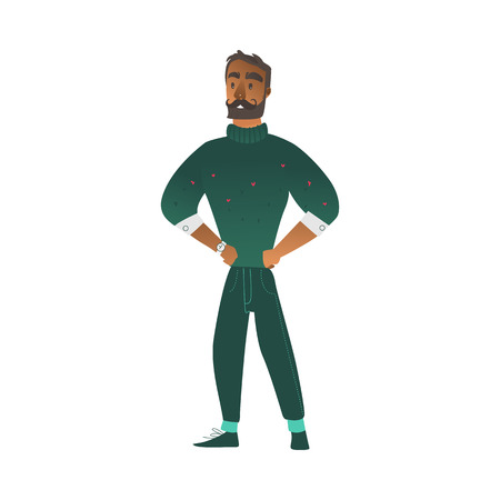 Vector cartoon cheerful african man with mustache, beard in warm green sweater standing with hands on waist waiting for event. Male character with positive emotions