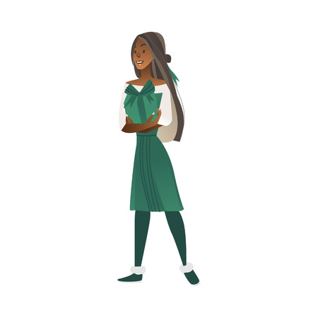 Vector cartoon african woman in green dress standing with positive emotions holding present box. Excited female character at her birthday, anniversary or christmas and new year holiday party 向量圖像