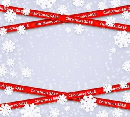 Vector christmas sale red stripes like restriction police awareness zone sign, marketing advertising, discounts area decoration element for xmas holiday banner, posters on snowflakes winter background