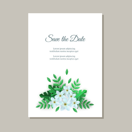 Vector save the date poster with white flowers with leaves pattern on white paper. Beautiful abstract blooming floral for romantic decoration wedding marriage or dating card vintage design