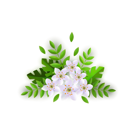 Floral composition vector illustration with beautiful white flowers and green leaves in flat style isolated on white background. Tender blossoms with foliage for romantic design.