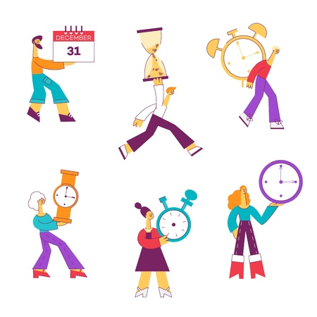 Vector illustration set of people with different types of watches and calendar in flat style - male and female characters with symbols of time management or countdown isolated on white background.