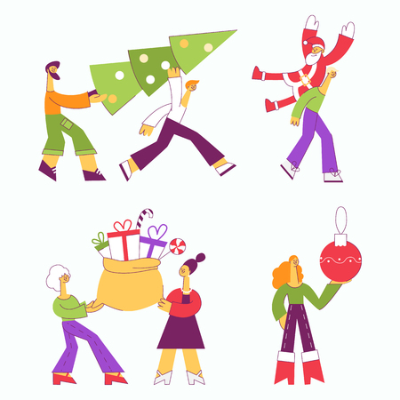 Vector illustration set of people carrying Christmas and New Year traditional symbols in flat style - male and female characters preparing for winter holiday celebration isolated on white background.