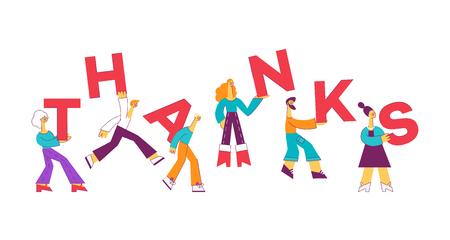 Vektorzeichentrickfiguren tragen mit einem Lächeln Dankesbriefe auf den Schultern. Männer, Frauen mit Dankbarkeitsinschrift. Grußkarten-Poster-Vorlage. Isolierte Abbildung