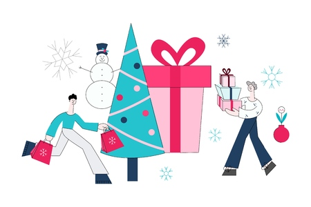 Vector flat adult man and woman running holding presents, shopping bags with purchases made during store clearance and discounts on background of decorated christmas tree, present box, snowman