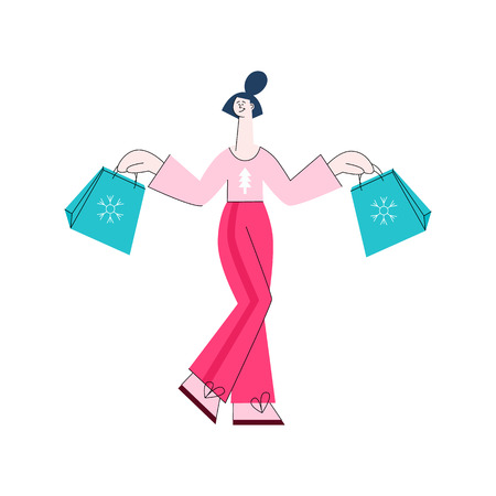Flat woman in casual clothing with tree print holding shopping bags with purchases made during store clearance and discounts. Female character with goods. Vector illustration
