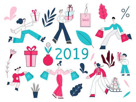 Vector illustration set of people with shopping bags and present boxes and decorative elements for winter holidays and seasonal sale concept in flat style isolated on white background. Ilustração