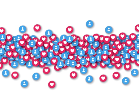 Vector social network background with red like heart and blue new users icons in red circle line for live stream video chat. Web buttons for internet marketing campaign posters
