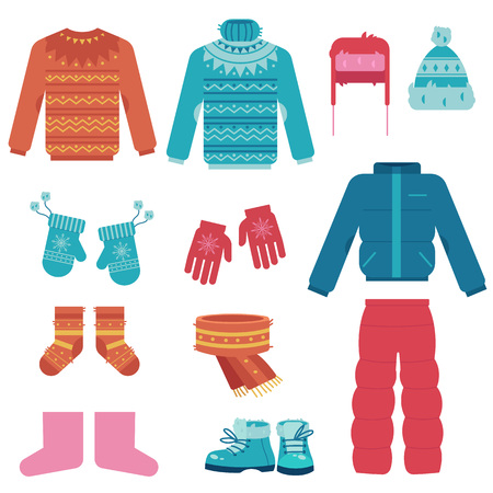 Winter clothes vector illustration set with various warm garments and shoes for wearing in cold weather in flat style isolated on white background - collection of outer apparel and accessories. Illustration