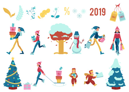 Vector illustration set of winter holiday sale elements with isolated people carrying shopping bags and present boxes for event and decorations for seasonal promotion banner in flat cartoon style.