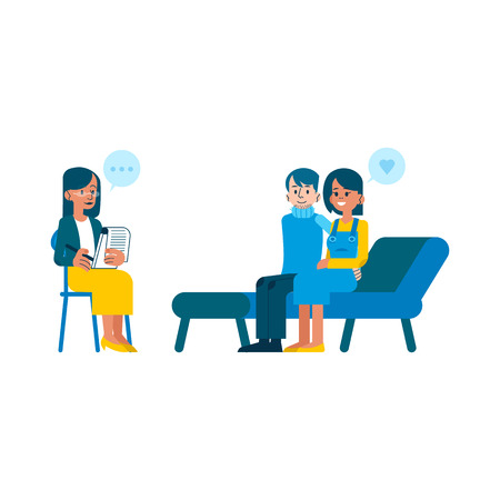 Vector psychotherapy session concept with adult woman mental therapist, psychiatrist asking questions, listening to happy couple man, woman sitting at couch passed through troubles, family therapy