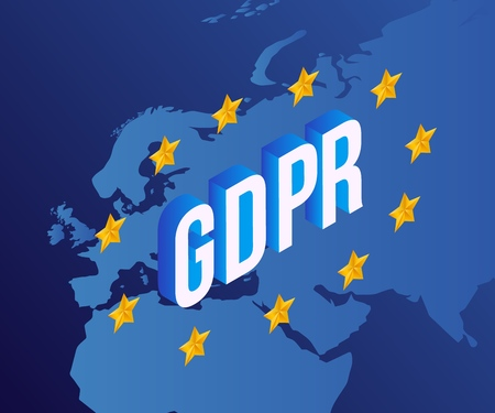 Vector illustration of GDPR text design with isometric letters inside circle of yellow stars on blue background with map of Europe - General Data Protection Regulation in EU concept.
