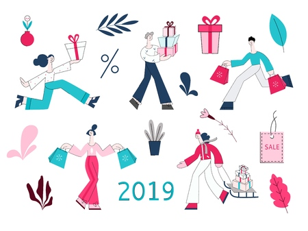 Vector 2019 winter sale concept set. Adult man, women holding presents, woman pulling sledge with shopping bags, purchases during store clearance and discounts, snowman christmas tree, present box.
