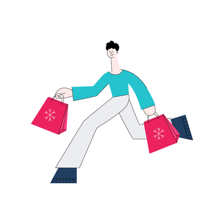 Vector stylized man in casual clothing running holding shopping bags with purchases made during store clearance and discounts. Male character with goods. flat illustration