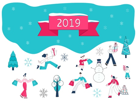 Vector illustration of Christmas and 2019 New Year banner with flat people carrying shopping bags and wrapped gift boxes surrounded by winter holidays decorative elements.