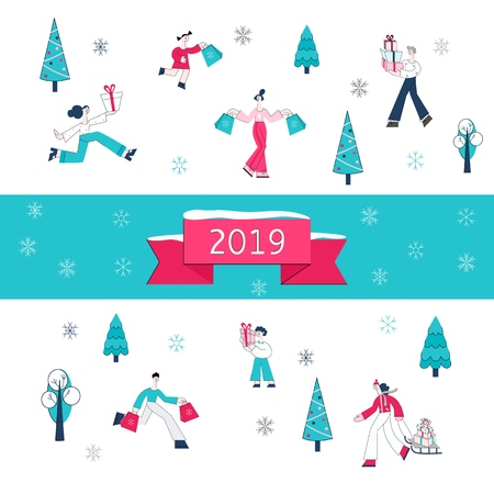 Vector illustration of Christmas and 2019 New Year banner - people carrying shopping bags and wrapped present boxes surrounded by winter holidays decorative elements in flat style.  イラスト・ベクター素材
