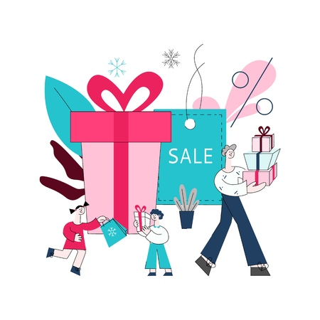 Vector flat adult man, girl and boy kids holding presents, shopping bags with purchases made during store clearance and discounts on background of present box, sale label