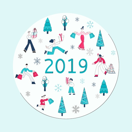 Vector illustration of Christmas and New Year banner with people carrying shopping bags and gift boxes and decorative winter holidays elements in white round shape for seasonal design in flat style.