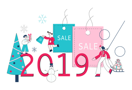 Vector 2019 winter sale concept with adult woman pulling sledge with shopping bags, purchases during store clearance and discounts, kids holding presents background of christmas tree, snowflakes 向量圖像