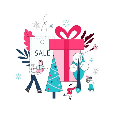 Vector flat adult man, girl and boy kids holding presents, shopping bags with purchases made during store clearance and discounts on background of decorated christmas tree, present box.