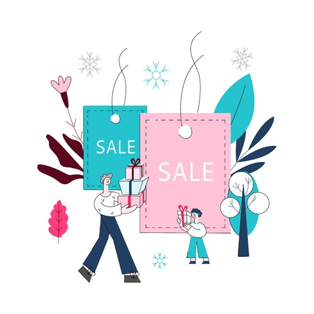 Vector flat adult man and boy kids holding presents, shopping bags with purchases made during store clearance and discounts on background of shopping bags with sale inscription, snowflakes  イラスト・ベクター素材