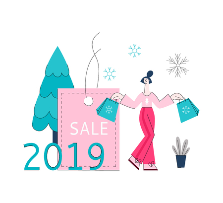 Vector illustration of winter holidays sale banner - young woman with shopping bags standing near big label in flat style. Promotion poster for seasonal special offer concept. Illustration