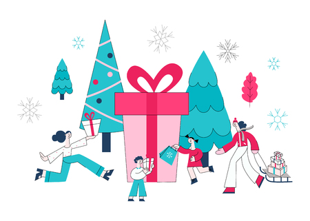 Vector illustration of winter holidays sale banner with people holding wrapped gift boxes and shopping bags surrounded by big seasonal decorative elements isolated on white background.