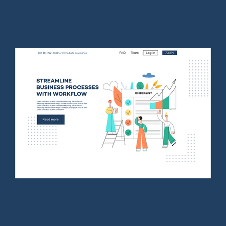 Vector business outsourse services poster operations consulting advertising, streamline processes workflow advice concept with male, female analytics near checklist, growth data charts Ilustração