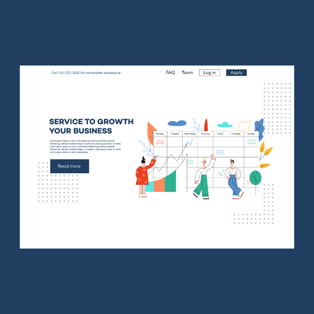 Vector business outsourse services poster with revenue, profits management consulting advertising, with male, female analytics near checklist, growth data charts, canban desk Illustration