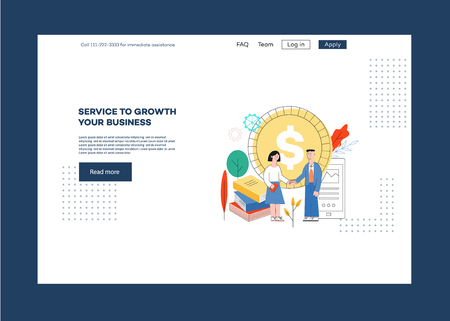Vector illustration of website page design template for service to growth business in trendy flat style - business people dealing about investment in development of idea on web banner.