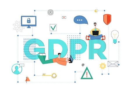 Vector general data protection regulation concept with male programmer sitting with legs crossed with laptop at huge job GDRP, developer man typing lying. Personal information, cyber security law